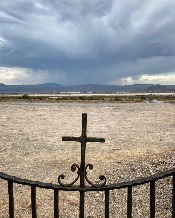 Distant thunderstorm as seen from Calico cemetery